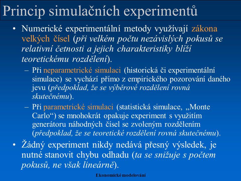 Ekonomické modelování Realizace statistických simulací Generátory náhodných čísel –Tabulky náhodných čísel –Mechanické, fyzikální, chemické generátory –Aritmetické generátory (pseudonáhodná čísla splňující testy náhodnosti) Využití výpočetní techniky –Speciální matematický či statistický software (např.