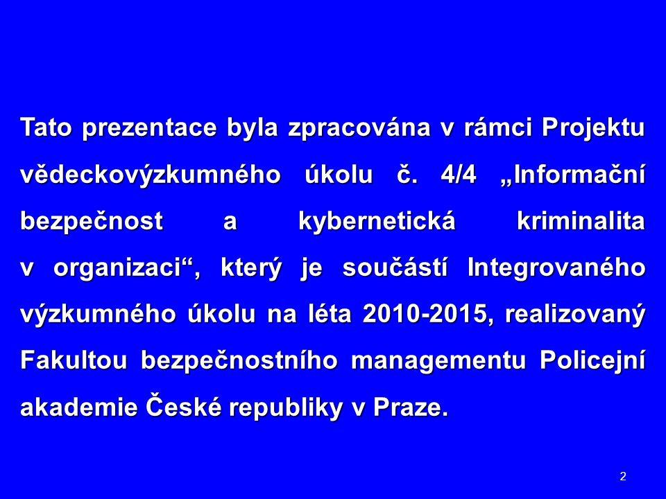"""2 Tato prezentace byla zpracována v rámci Projektu vědeckovýzkumného úkolu č. 4/4 """"Informační bezpečnost a kybernetická kriminalita v organizaci"""", kte"""