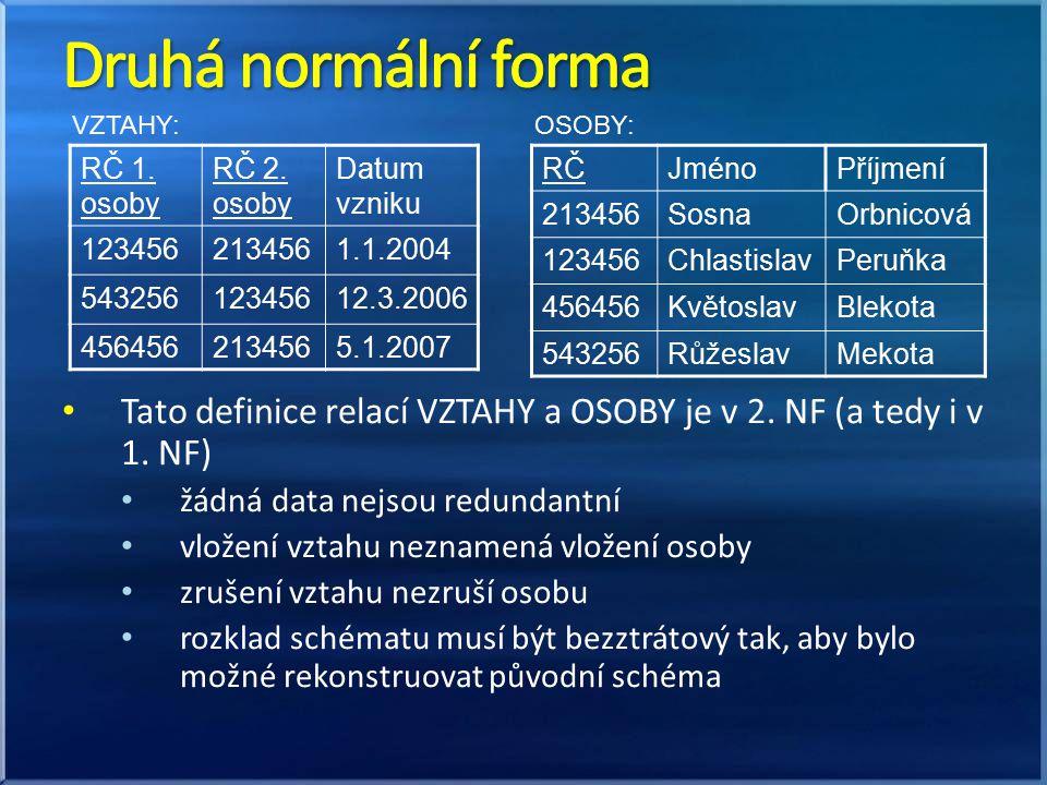 Tato definice relací VZTAHY a OSOBY je v 2. NF (a tedy i v 1. NF) žádná data nejsou redundantní vložení vztahu neznamená vložení osoby zrušení vztahu