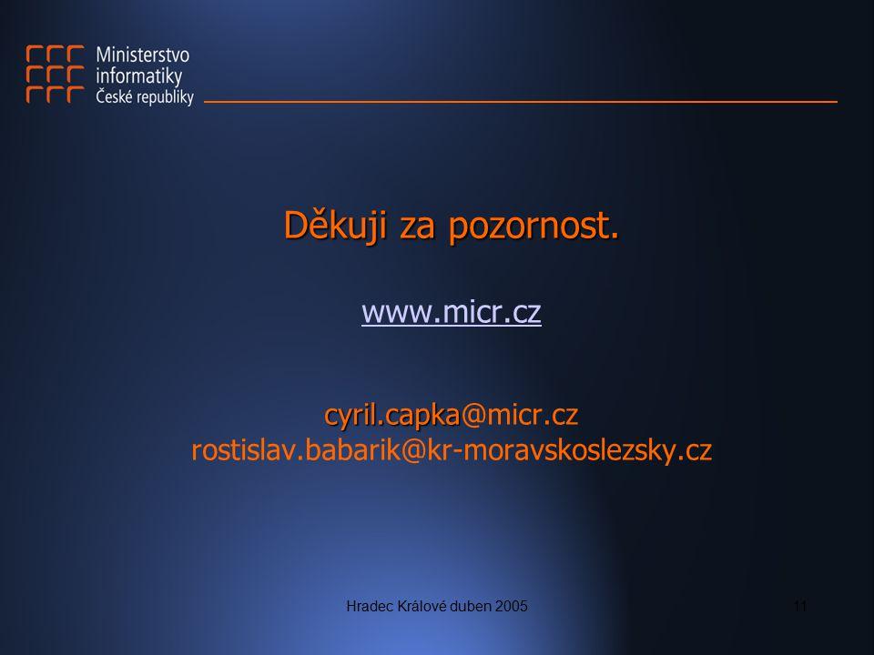 Hradec Králové duben 200511 Děkuji za pozornost. cyril.capka Děkuji za pozornost. www.micr.cz cyril.capka@micr.cz rostislav.babarik@kr-moravskoslezsky