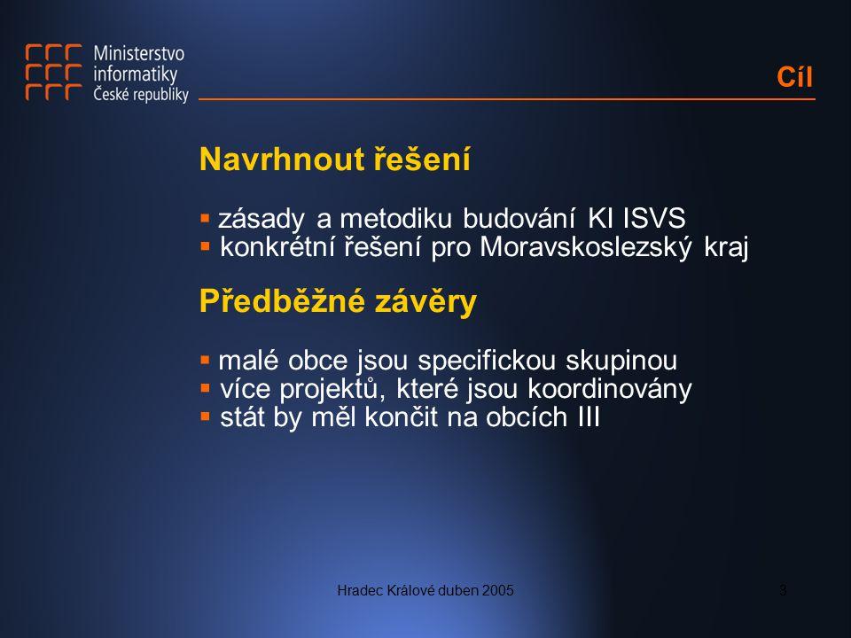 Hradec Králové duben 20053 Cíl Navrhnout řešení  zásady a metodiku budování KI ISVS  konkrétní řešení pro Moravskoslezský kraj Předběžné závěry  ma