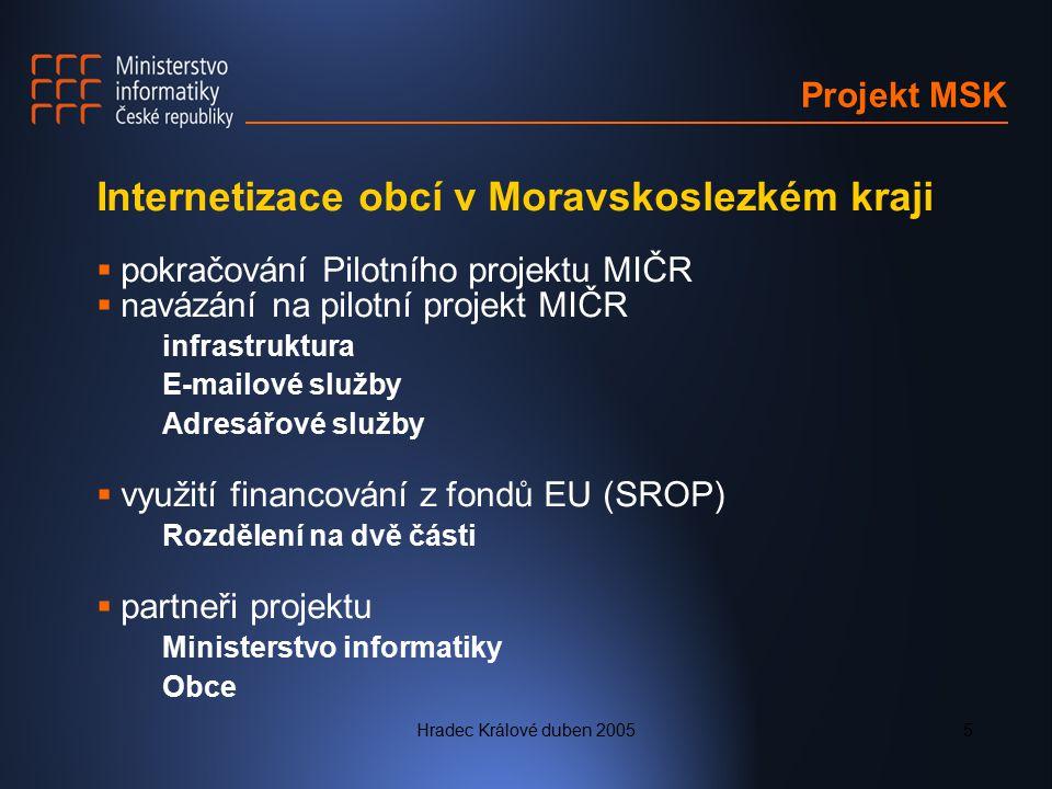 Hradec Králové duben 20055 Projekt MSK Internetizace obcí v Moravskoslezkém kraji  pokračování Pilotního projektu MIČR  na vázání na pilotní projekt