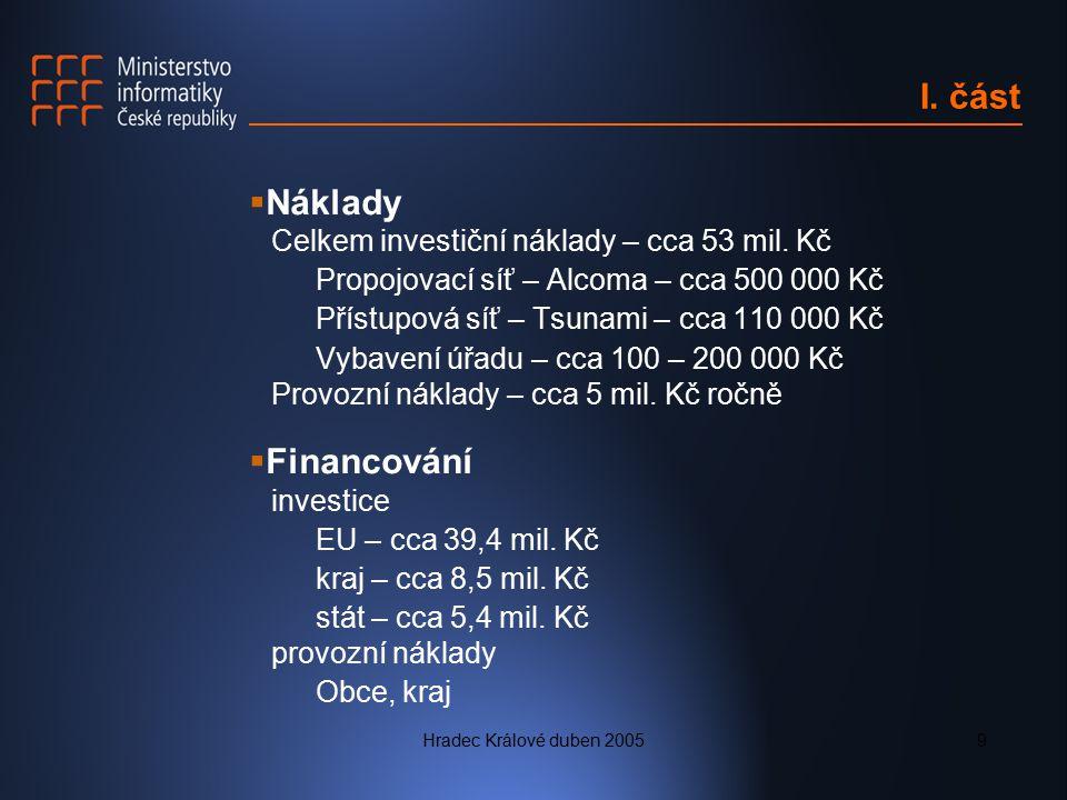 Hradec Králové duben 20059 I. část  Náklady Celkem investiční náklady – cca 53 mil. Kč Propojovací síť – Alcoma – cca 500 000 Kč Přístupová síť – Tsu