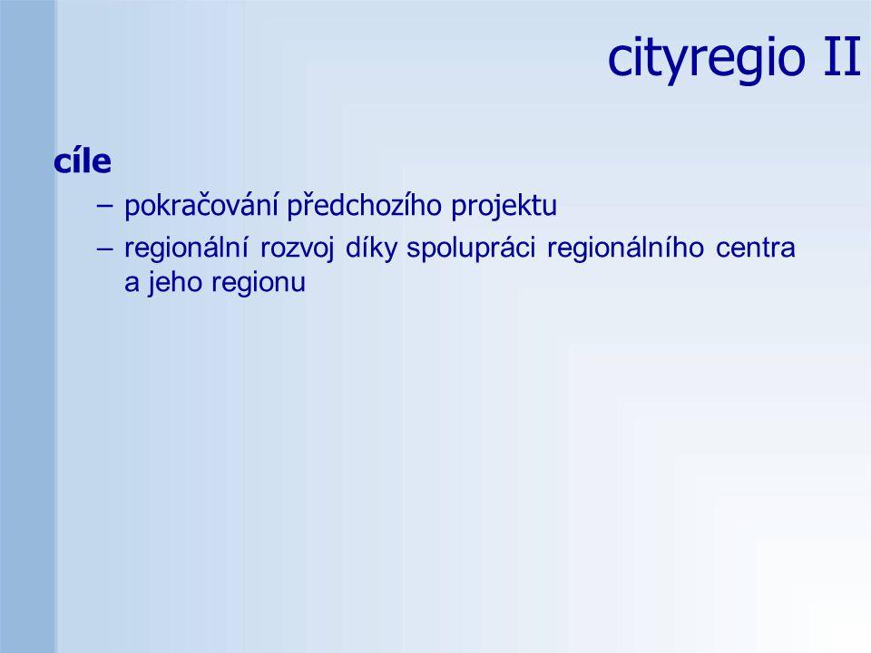 cityregio II cíle –pokračování předchozího projektu –regionální rozvoj díky spolupráci regionálního centra a jeho regionu