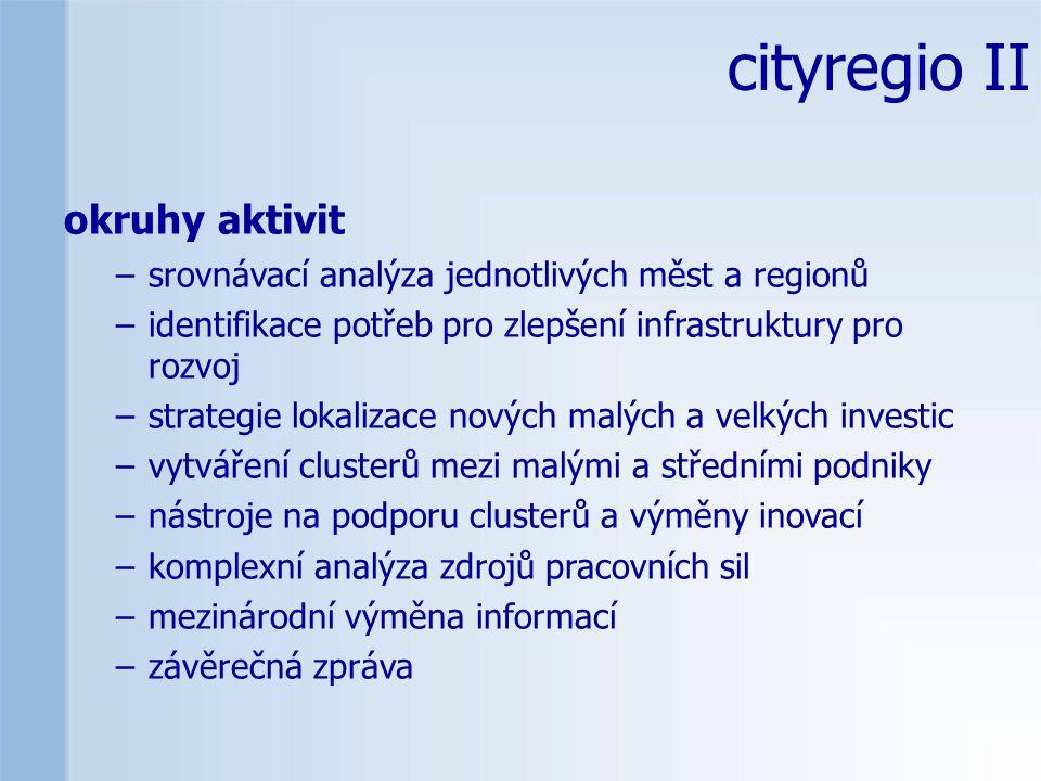 cityregio II okruhy aktivit –srovnávací analýza jednotlivých měst a regionů –identifikace potřeb pro zlepšení infrastruktury pro rozvoj –strategie lokalizace nových malých a velkých investic –vytváření clusterů mezi malými a středními podniky –nástroje na podporu clusterů a výměny inovací –komplexní analýza zdrojů pracovních sil –mezinárodní výměna informací –závěrečná zpráva