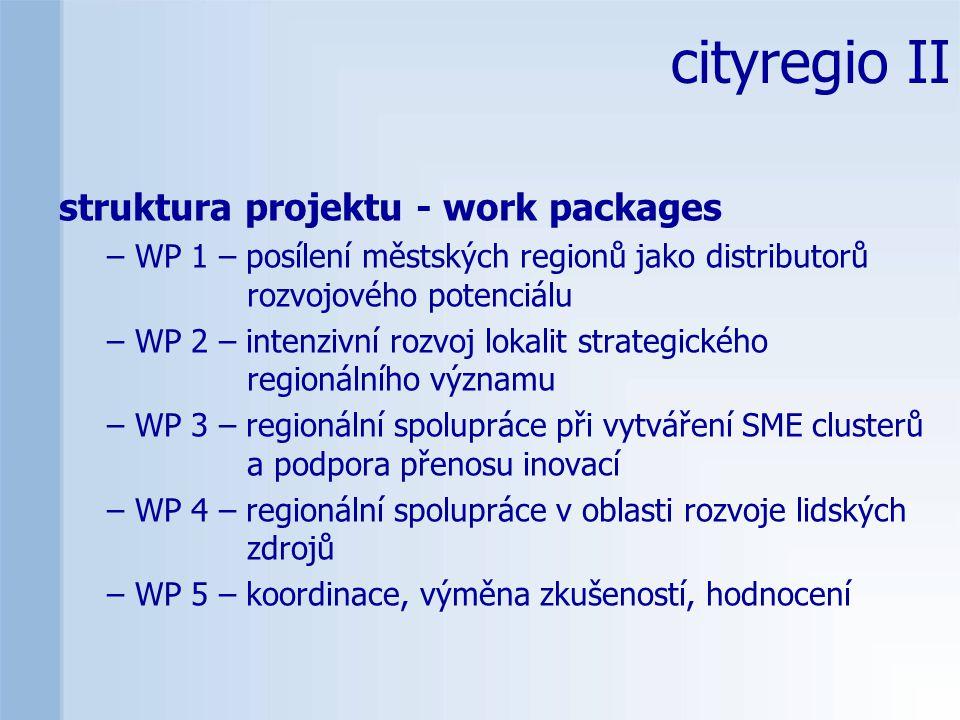 struktura projektu - work packages – WP 1 – posílení městských regionů jako distributorů rozvojového potenciálu – WP 2 – intenzivní rozvoj lokalit strategického regionálního významu – WP 3 – regionální spolupráce při vytváření SME clusterů a podpora přenosu inovací – WP 4 – regionální spolupráce v oblasti rozvoje lidských zdrojů – WP 5 – koordinace, výměna zkušeností, hodnocení cityregio II