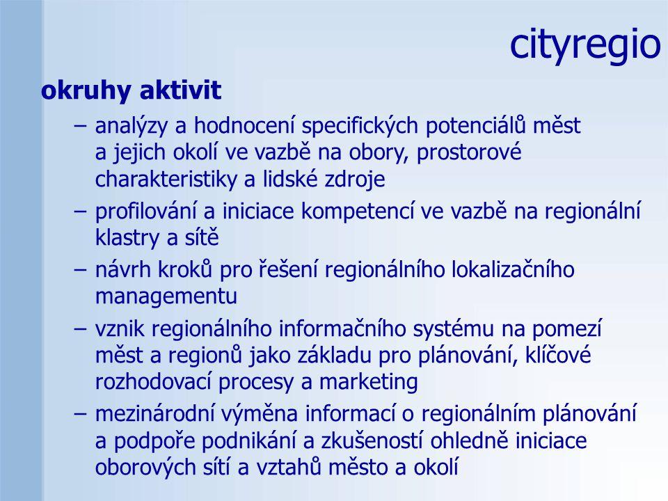 cityregio okruhy aktivit –analýzy a hodnocení specifických potenciálů měst a jejich okolí ve vazbě na obory, prostorové charakteristiky a lidské zdroje –profilování a iniciace kompetencí ve vazbě na regionální klastry a sítě –návrh kroků pro řešení regionálního lokalizačního managementu –vznik regionálního informačního systému na pomezí měst a regionů jako základu pro plánování, klíčové rozhodovací procesy a marketing –mezinárodní výměna informací o regionálním plánování a podpoře podnikání a zkušeností ohledně iniciace oborových sítí a vztahů město a okolí
