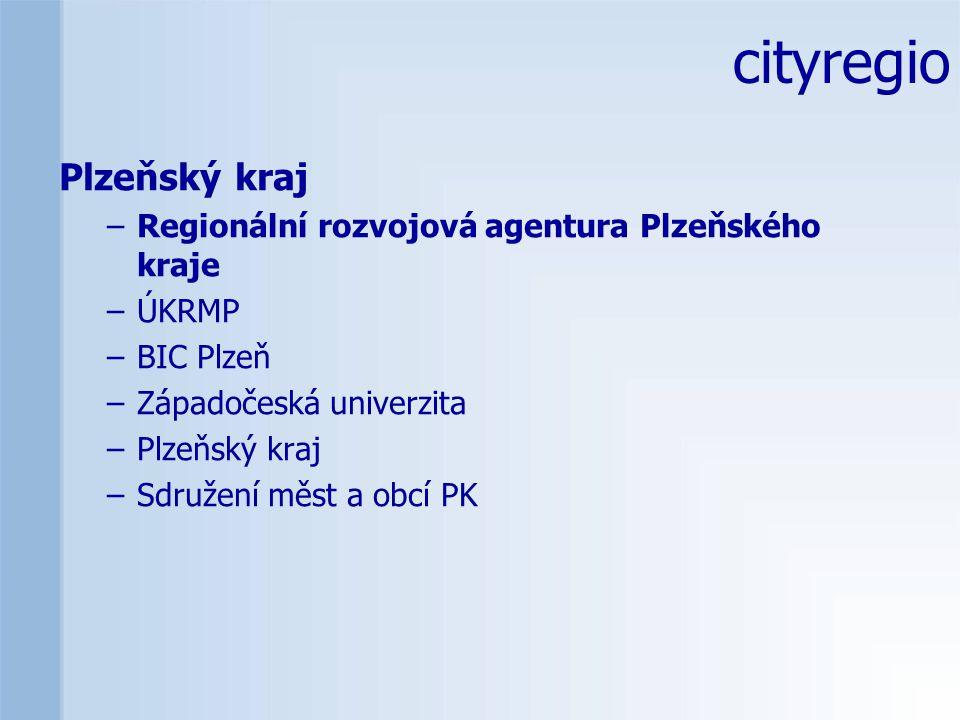 Plzeňský kraj –Regionální rozvojová agentura Plzeňského kraje –ÚKRMP –BIC Plzeň –Západočeská univerzita –Plzeňský kraj –Sdružení měst a obcí PK cityregio