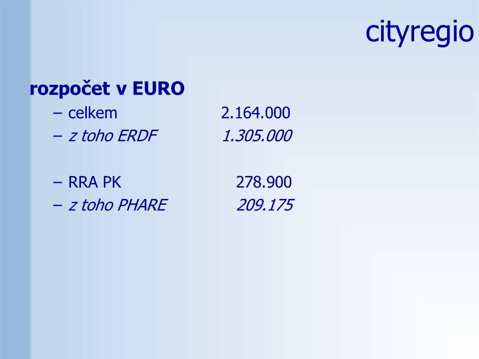 rozpočet v EURO –celkem 2.164.000 –z toho ERDF 1.305.000 –RRA PK 278.900 –z toho PHARE 209.175 cityregio