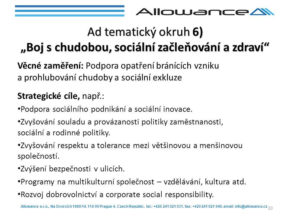 Allowance s.r.o., Na Dvorcích 1989/14, 114 00 Prague 4, Czech Republic, tel.: +420 241 021 031, fax: +420 241 021 046, email: info@allowance.cz Ad tem