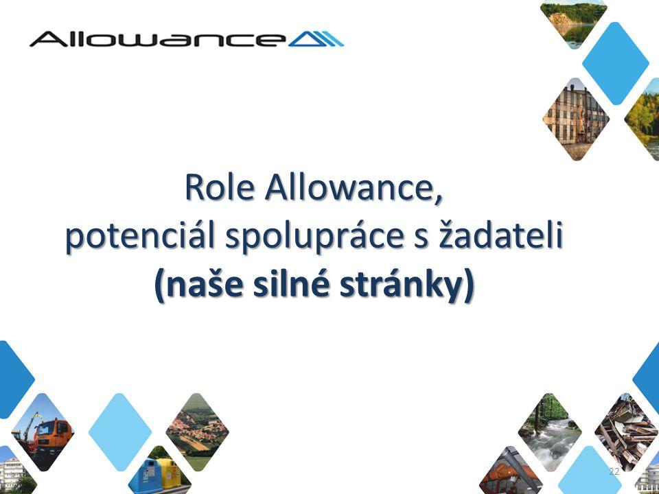 Role Allowance, potenciál spolupráce s žadateli (naše silné stránky) 22