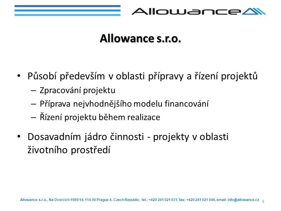 Allowance s.r.o., Na Dvorcích 1989/14, 114 00 Prague 4, Czech Republic, tel.: +420 241 021 031, fax: +420 241 021 046, email: info@allowance.cz Sesterská společnost Allowance s.r.o.