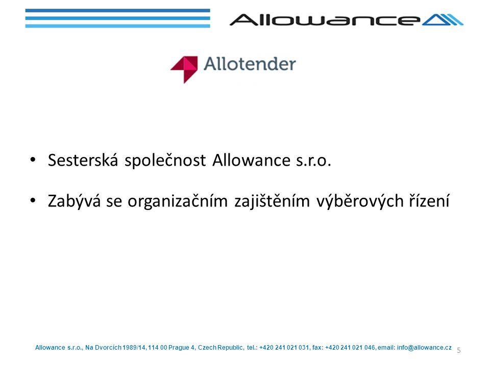 Allowance s.r.o., Na Dvorcích 1989/14, 114 00 Prague 4, Czech Republic, tel.: +420 241 021 031, fax: +420 241 021 046, email: info@allowance.cz Sester