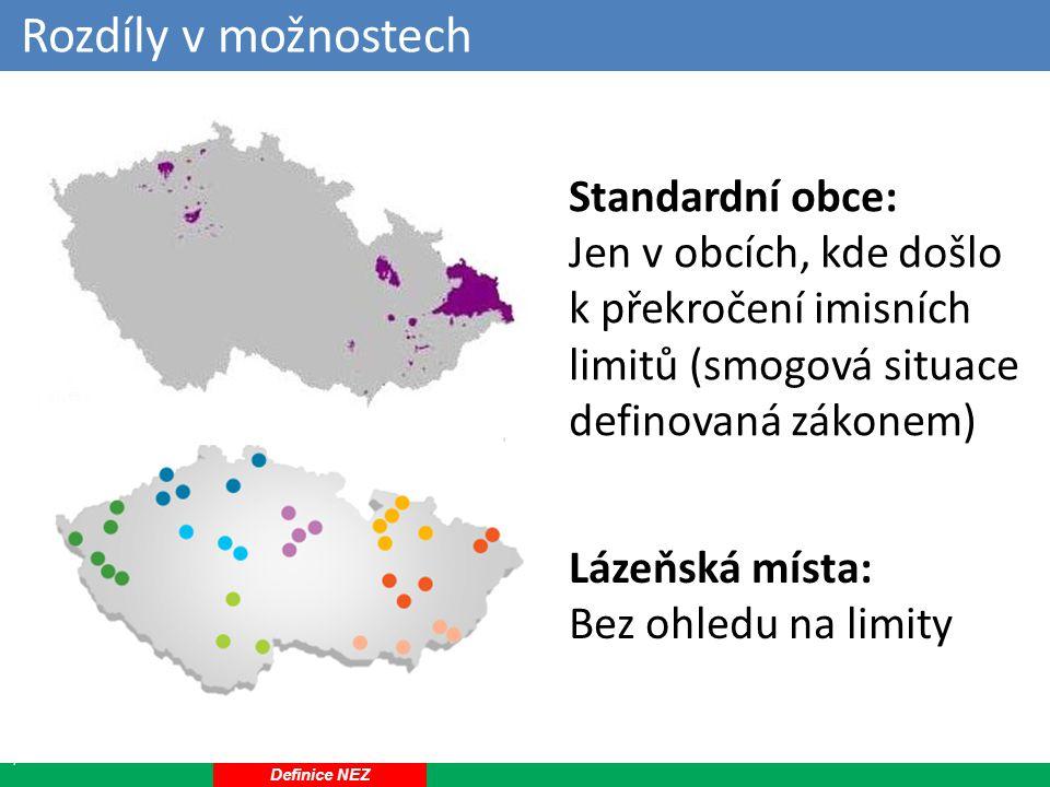 Rozdíly v možnostech 17 Standardní obce: Jen v obcích, kde došlo k překročení imisních limitů (smogová situace definovaná zákonem) Lázeňská místa: Bez ohledu na limity Definice NEZ