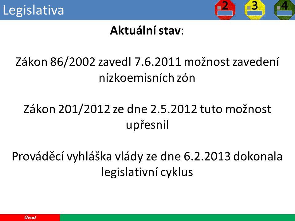 Legislativa 2 Úvod Aktuální stav: Zákon 86/2002 zavedl 7.6.2011 možnost zavedení nízkoemisních zón Zákon 201/2012 ze dne 2.5.2012 tuto možnost upřesnil Prováděcí vyhláška vlády ze dne 6.2.2013 dokonala legislativní cyklus