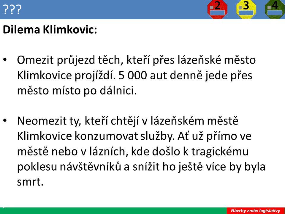 ??.22 Dilema Klimkovic: Omezit průjezd těch, kteří přes lázeňské město Klimkovice projíždí.