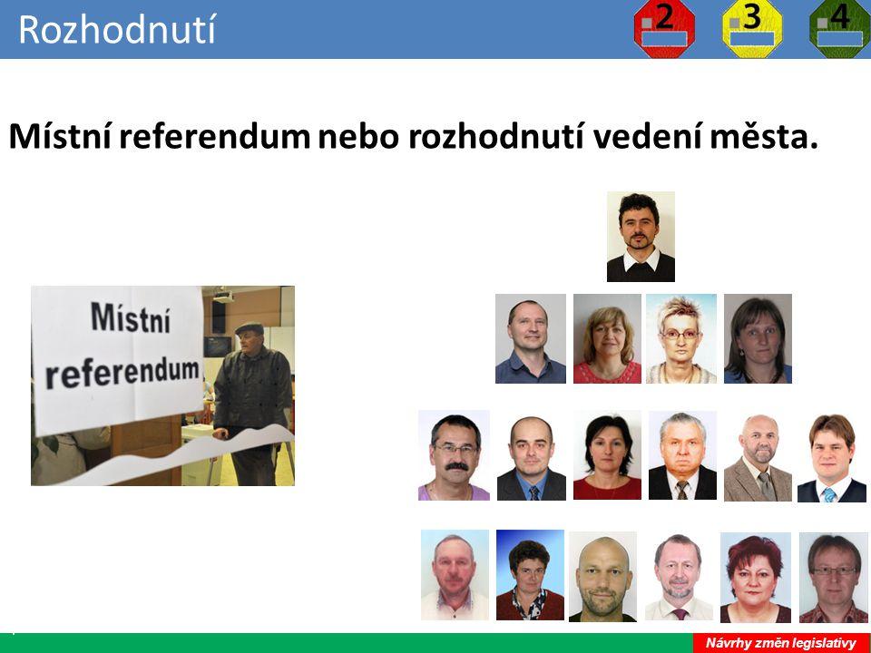Rozhodnutí 34 Místní referendum nebo rozhodnutí vedení města. Návrhy změn legislativy