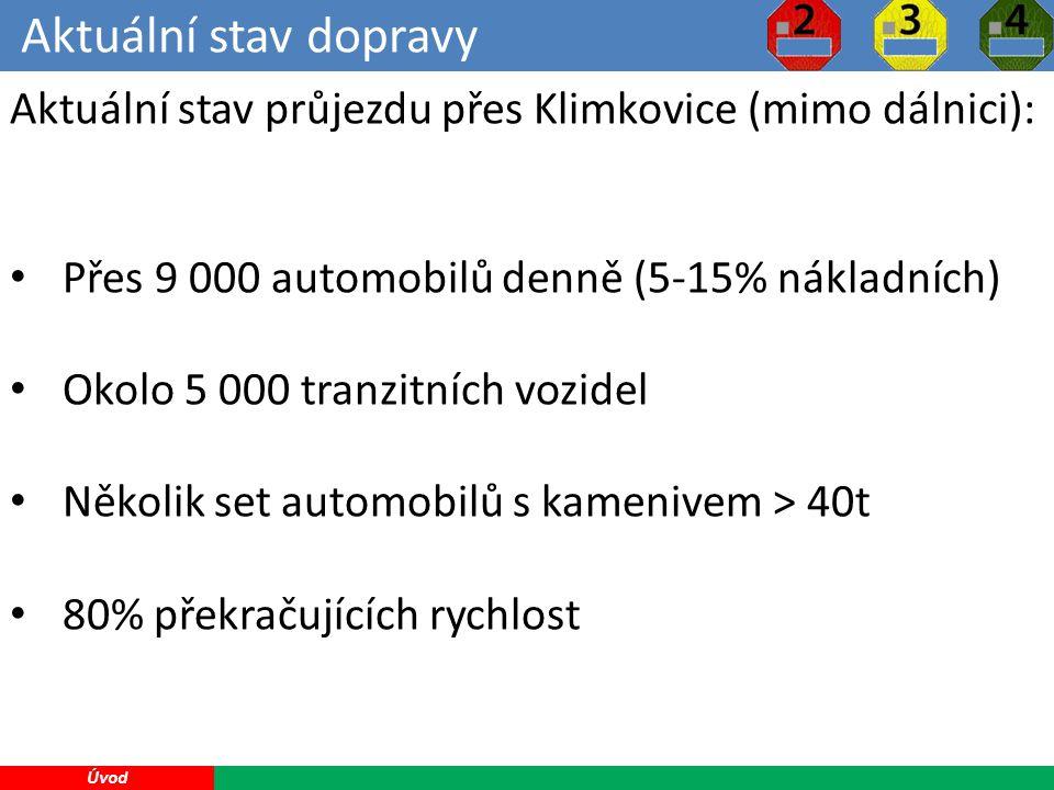 Aktuální stav dopravy 8 Úvod Aktuální stav průjezdu přes Klimkovice (mimo dálnici): Přes 9 000 automobilů denně (5-15% nákladních) Okolo 5 000 tranzitních vozidel Několik set automobilů s kamenivem > 40t 80% překračujících rychlost