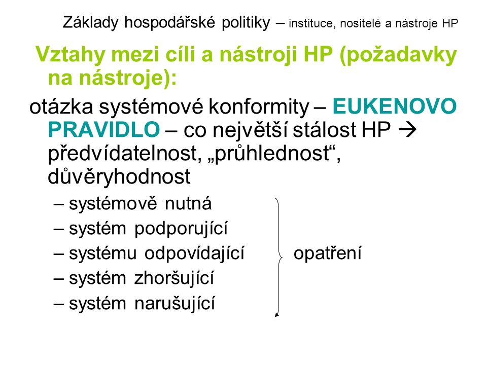 """Vztahy mezi cíli a nástroji HP (požadavky na nástroje): otázka systémové konformity – EUKENOVO PRAVIDLO – co největší stálost HP  předvídatelnost, """"p"""