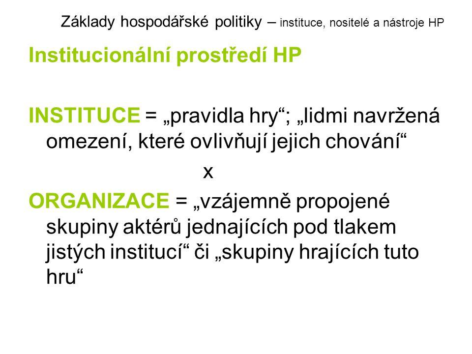 """Institucionální prostředí HP INSTITUCE = """"pravidla hry""""; """"lidmi navržená omezení, které ovlivňují jejich chování"""" x ORGANIZACE = """"vzájemně propojené s"""