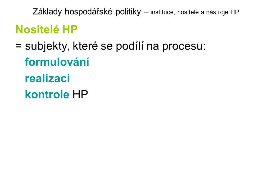 Nositelé HP = subjekty, které se podílí na procesu: formulování realizaci kontrole HP Základy hospodářské politiky – instituce, nositelé a nástroje HP