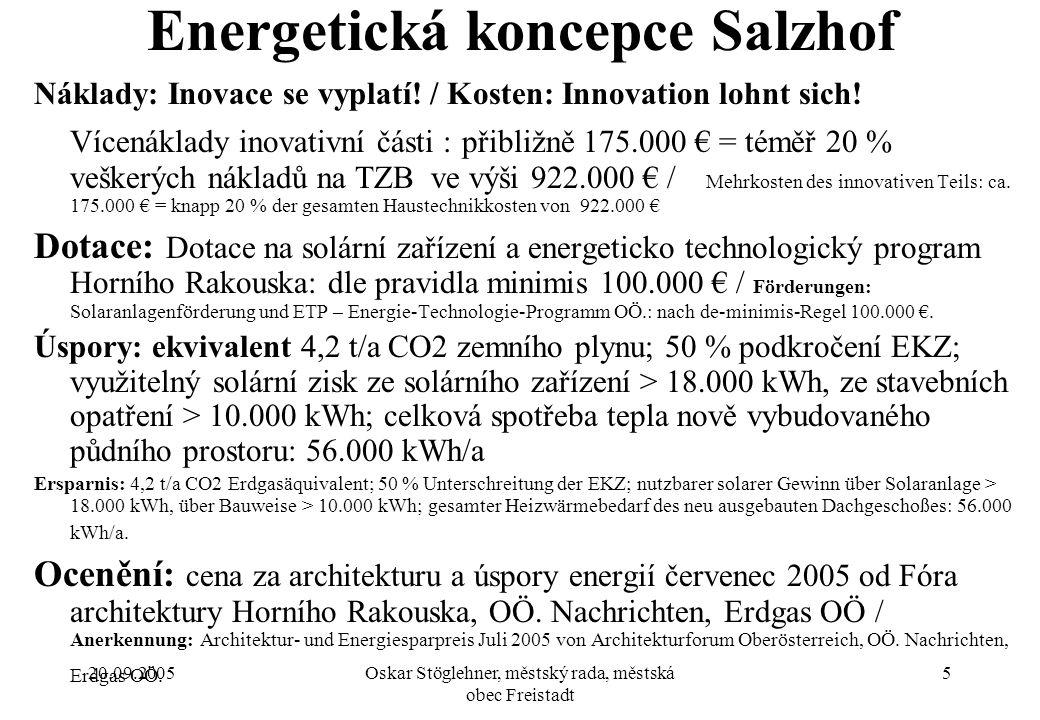 20.09.2005Oskar Stöglehner, městský rada, městská obec Freistadt 5 Energetická koncepce Salzhof Náklady: Inovace se vyplatí.