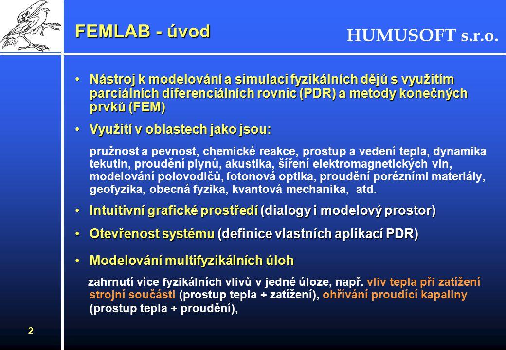 HUMUSOFT s.r.o. 1 FEMLAB 2.3 Konference MATLAB 2002, 7. listopadu 2002 Karel Bittner, HUMUSFOT s.r.o. karel.bittner@humusoft.cz