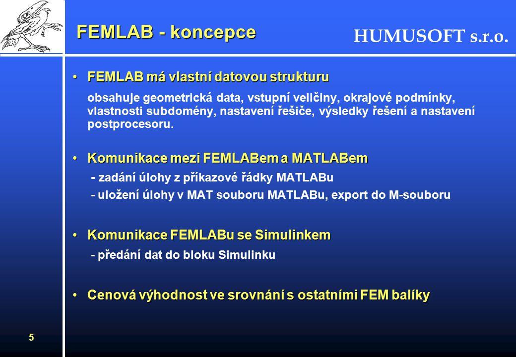 HUMUSOFT s.r.o. 4 FEMLAB - koncepce Řešení parciálních diferenciálních rovnic (PDR)Řešení parciálních diferenciálních rovnic (PDR) - definované typy ú