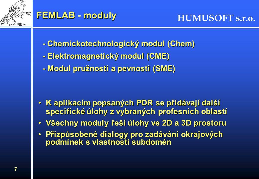 HUMUSOFT s.r.o. 6 FEMLAB - koncepce - femsim Workspace Model v Simulinku FEMLAB - aplikační módy - PDR - CAD nástroje - okrajové podm. - generování sí