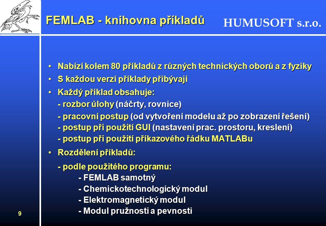HUMUSOFT s.r.o. 8 FEMLAB - pracovní postup FEMLAB Volba úlohy (PDR) prostor 1D,2D, 3D Datová struktura Vstupní data Geneorování sítě Okrajové podmínky