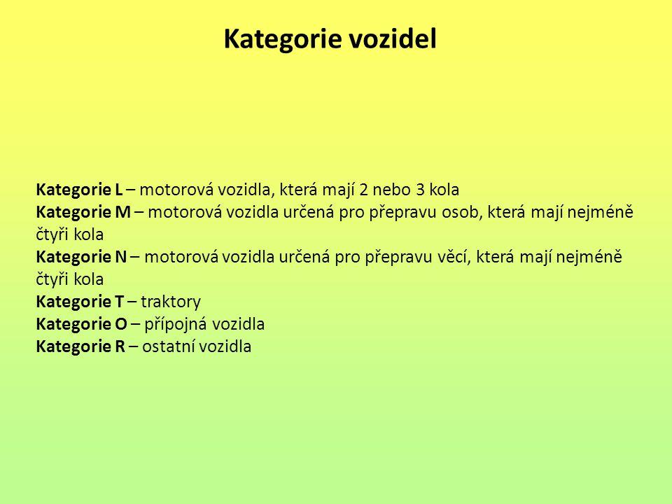 Kategorie vozidel Kategorie L – motorová vozidla, která mají 2 nebo 3 kola Kategorie M – motorová vozidla určená pro přepravu osob, která mají nejméně
