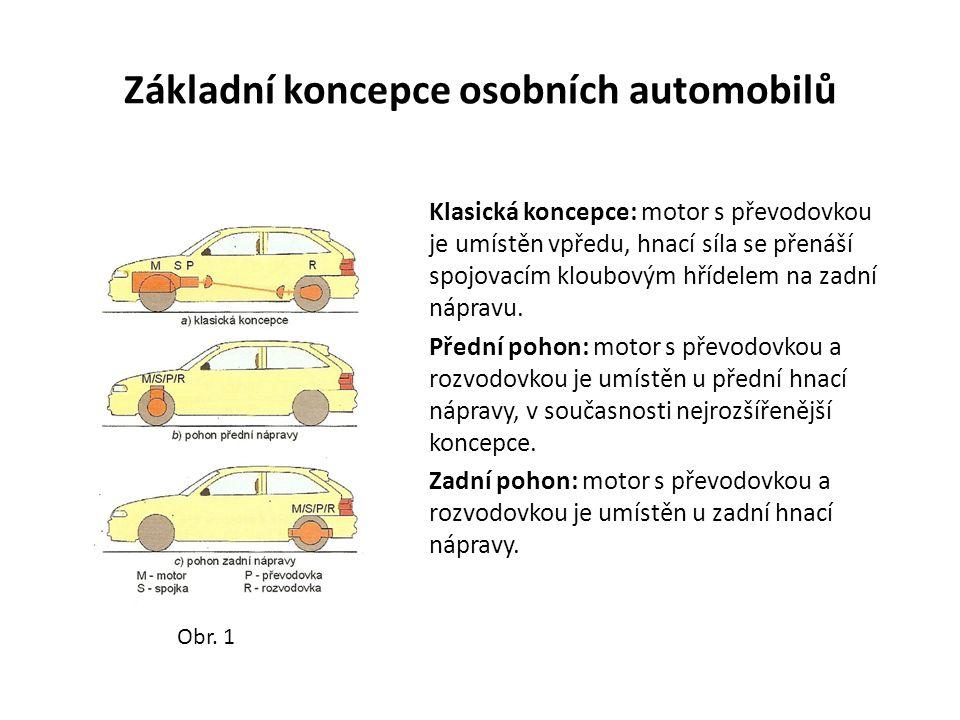 Hlavní části motorových vozidel: Osobní automobily: Podvozek: podvěsy (přední, zadní) nápravy (řídící, hnací) pérování brzdový systém kola řízení příslušenství podvozku (ovládací ústrojí spojky, karburátoru atd.) Poháněcí soustava: hnací ústrojí (vozidlový motor s příslušenstvím) převodná ústrojí spojka převodovka s řadícím ústrojím spojovací kloubový hřídel rozvodovka (stálý převod, rozvodovka)