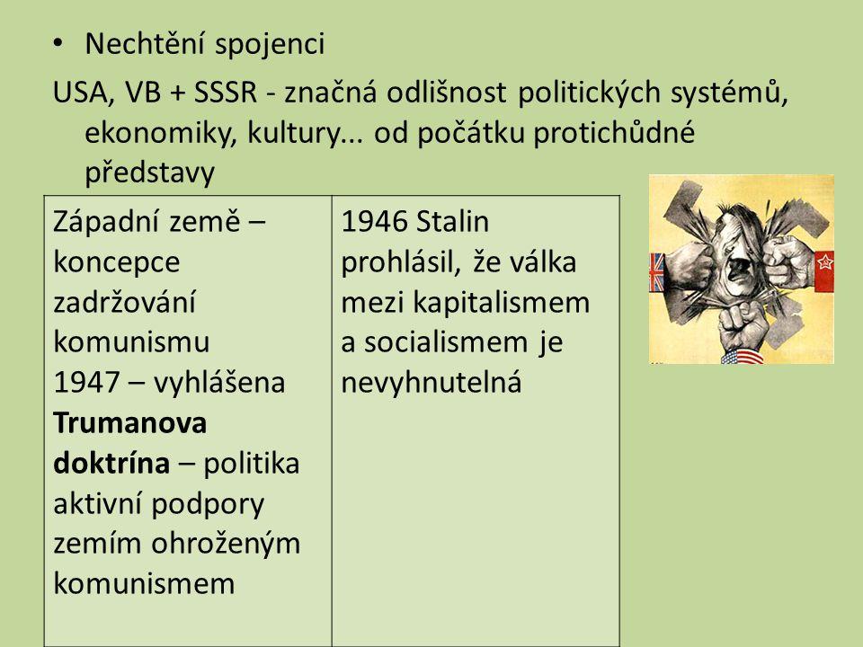 Nechtění spojenci USA, VB + SSSR - značná odlišnost politických systémů, ekonomiky, kultury... od počátku protichůdné představy Svět se rozdělil na Vý
