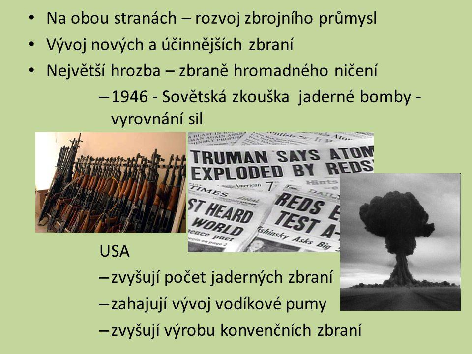 – 1946 - Sovětská zkouška jaderné bomby - vyrovnání sil USA – zvyšují počet jaderných zbraní – zahajují vývoj vodíkové pumy – zvyšují výrobu konvenčních zbraní Na obou stranách – rozvoj zbrojního průmysl Vývoj nových a účinnějších zbraní Největší hrozba – zbraně hromadného ničení