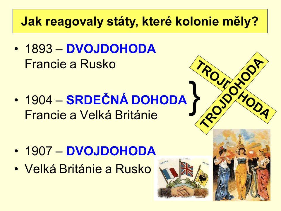 1893 – DVOJDOHODA Francie a Rusko 1904 – SRDEČNÁ DOHODA Francie a Velká Británie 1907 – DVOJDOHODA Velká Británie a Rusko Jak reagovaly státy, které k