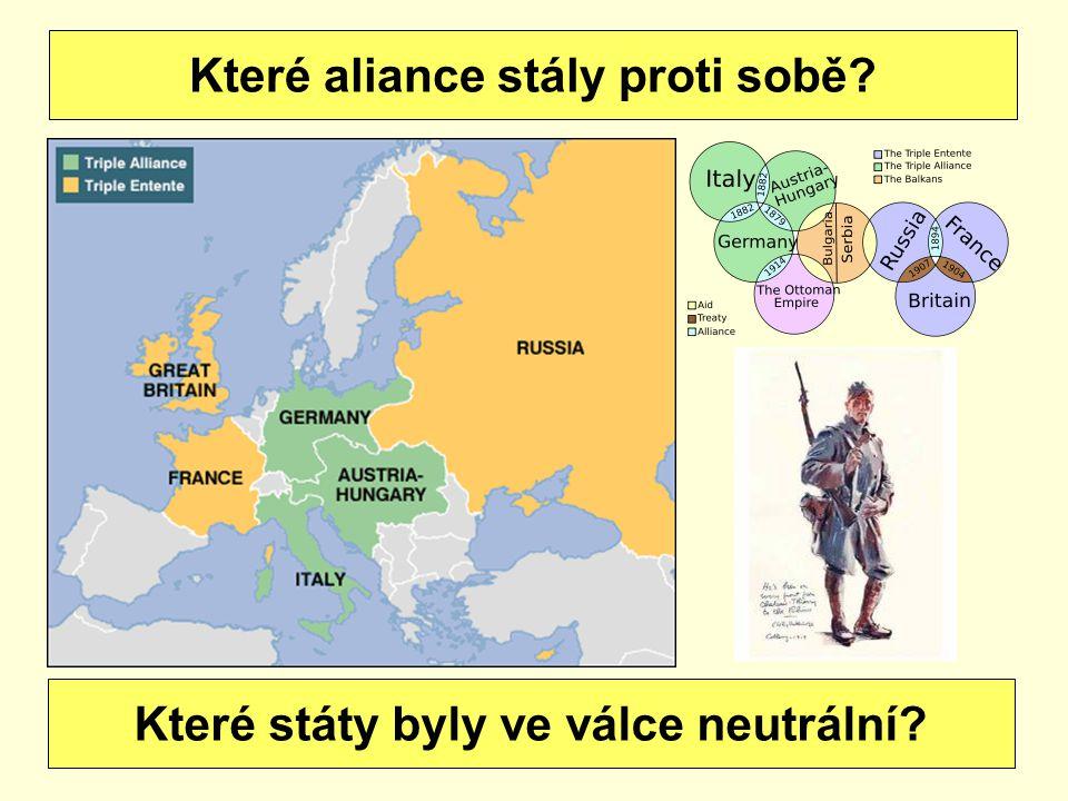 Které aliance stály proti sobě? Které státy byly ve válce neutrální?