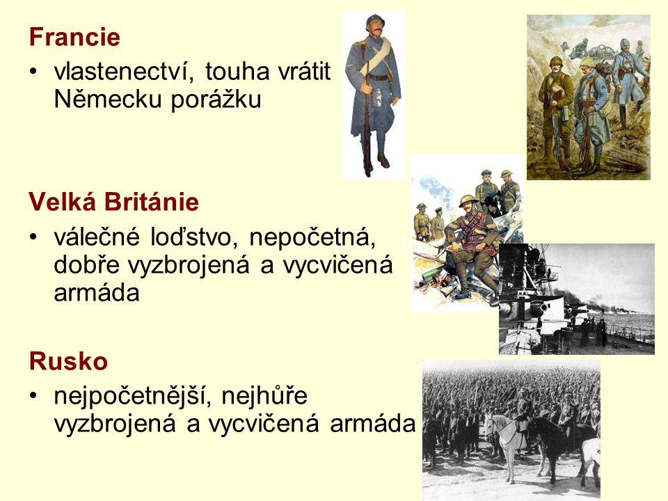 Francie vlastenectví, touha vrátit Německu porážku Velká Británie válečné loďstvo, nepočetná, dobře vyzbrojená a vycvičená armáda Rusko nejpočetnější,