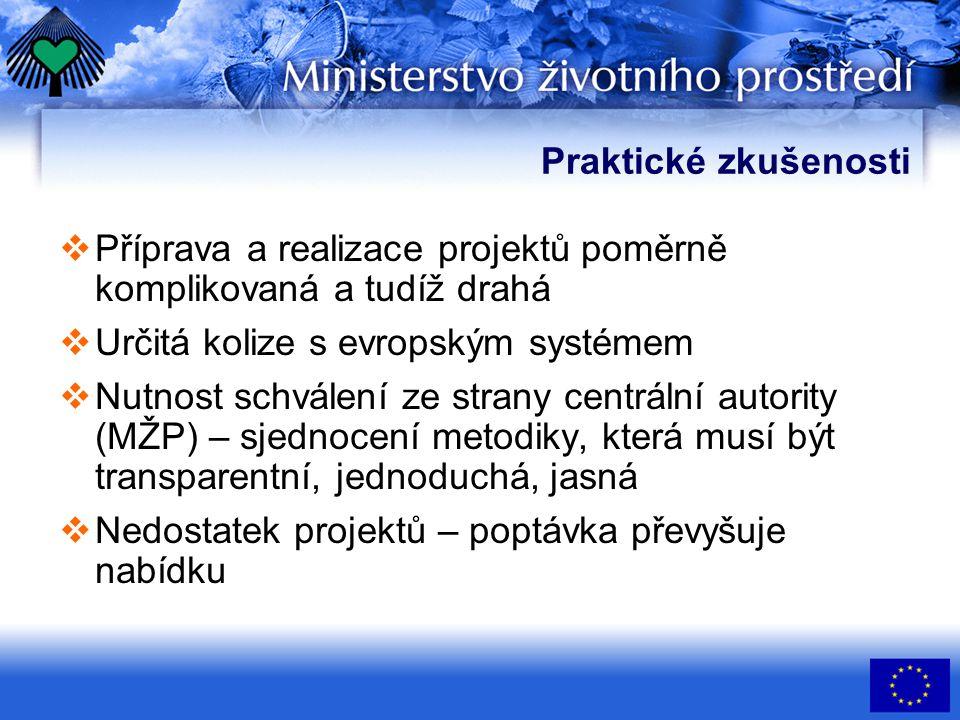 Praktické zkušenosti  Příprava a realizace projektů poměrně komplikovaná a tudíž drahá  Určitá kolize s evropským systémem  Nutnost schválení ze st
