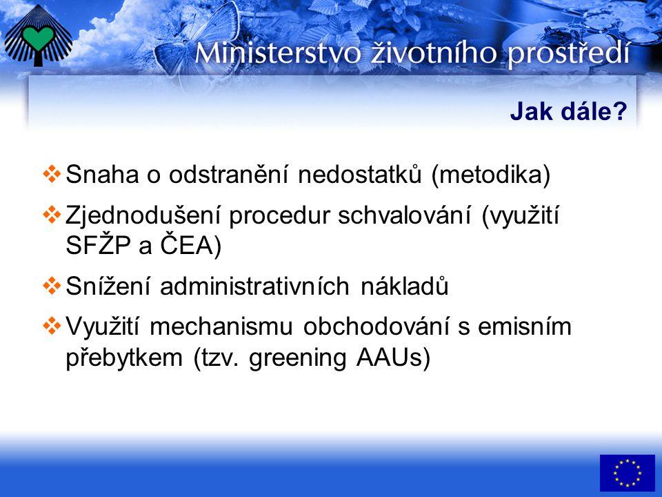 Jak dále?  Snaha o odstranění nedostatků (metodika)  Zjednodušení procedur schvalování (využití SFŽP a ČEA)  Snížení administrativních nákladů  Vy