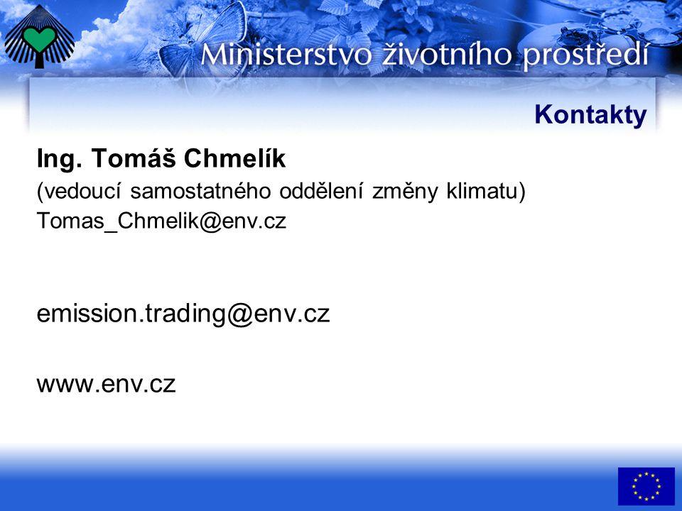 Kontakty Ing. Tomáš Chmelík (vedoucí samostatného oddělení změny klimatu) Tomas_Chmelik@env.cz emission.trading@env.cz www.env.cz