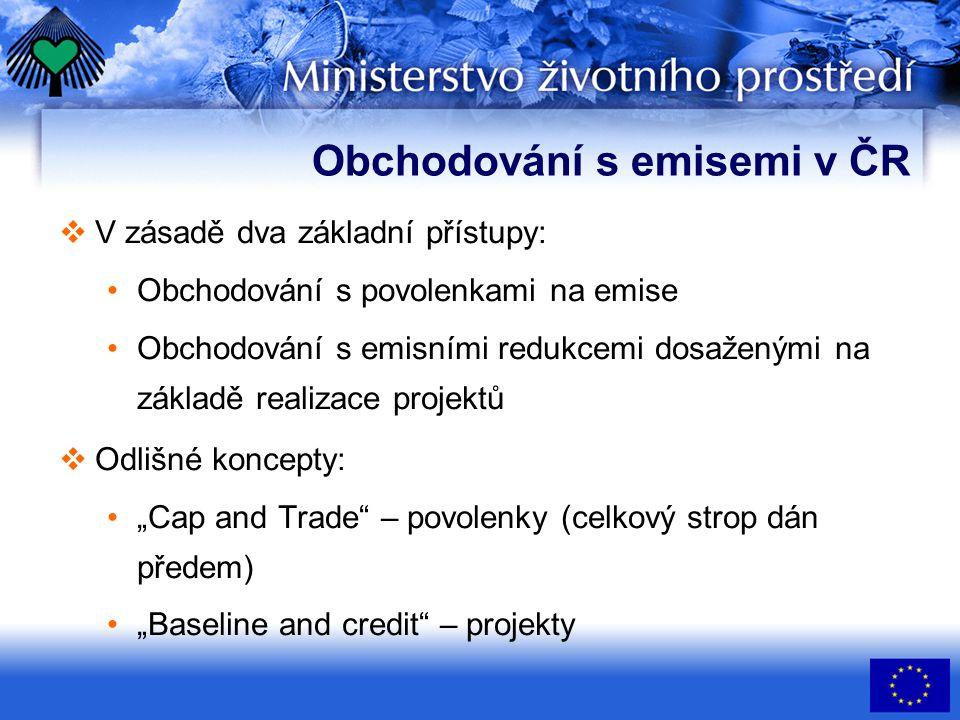 Obchodování s emisemi v ČR  V zásadě dva základní přístupy: Obchodování s povolenkami na emise Obchodování s emisními redukcemi dosaženými na základě