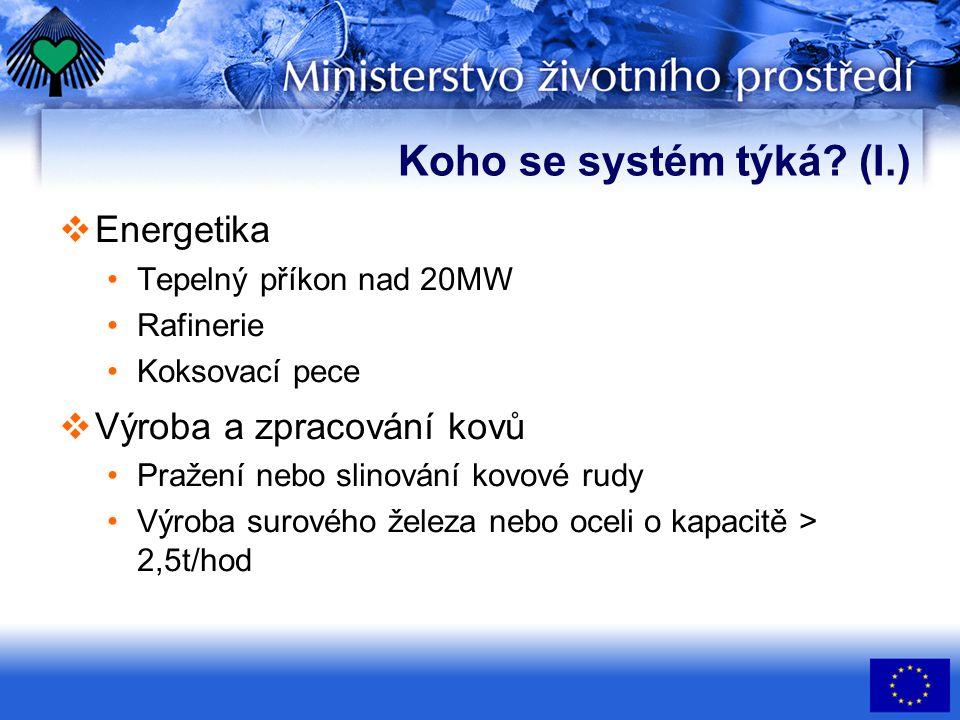 Koho se systém týká? (I.)  Energetika Tepelný příkon nad 20MW Rafinerie Koksovací pece  Výroba a zpracování kovů Pražení nebo slinování kovové rudy