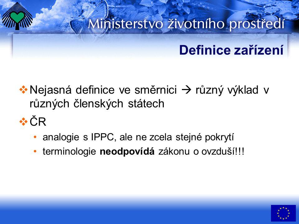 Definice zařízení  Nejasná definice ve směrnici  různý výklad v různých členských státech  ČR analogie s IPPC, ale ne zcela stejné pokrytí terminologie neodpovídá zákonu o ovzduší!!!