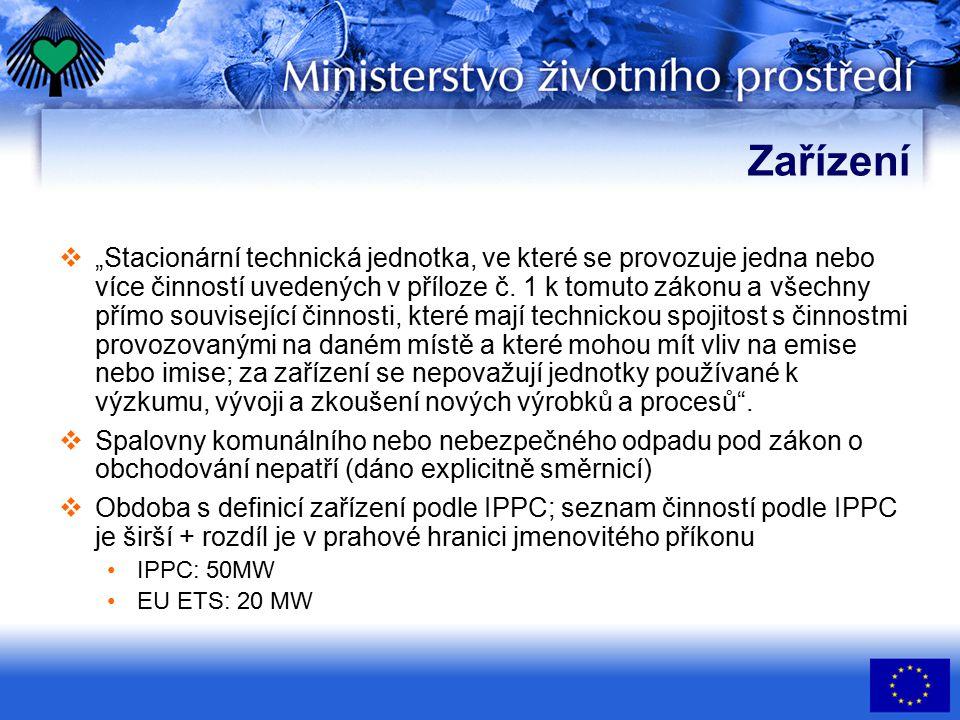 """Zařízení  """"Stacionární technická jednotka, ve které se provozuje jedna nebo více činností uvedených v příloze č."""