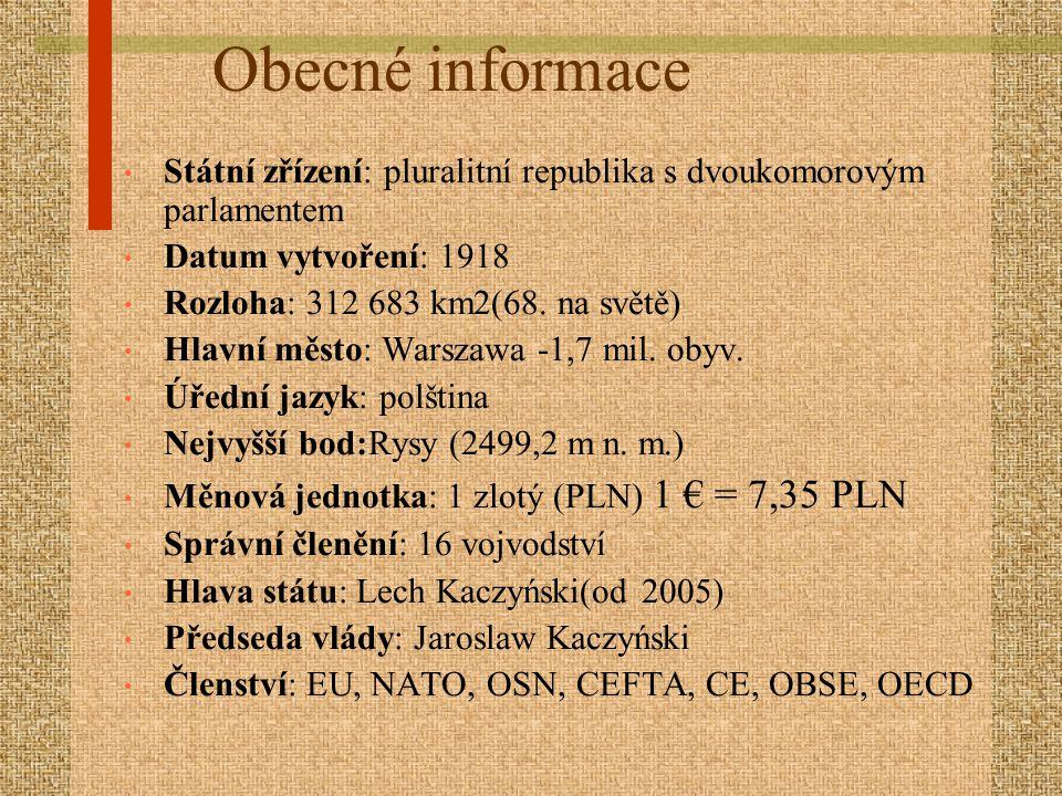 Státní zřízení: pluralitní republika s dvoukomorovým parlamentem Datum vytvoření: 1918 Rozloha: 312 683 km2(68. na světě) Hlavní město: Warszawa -1,7