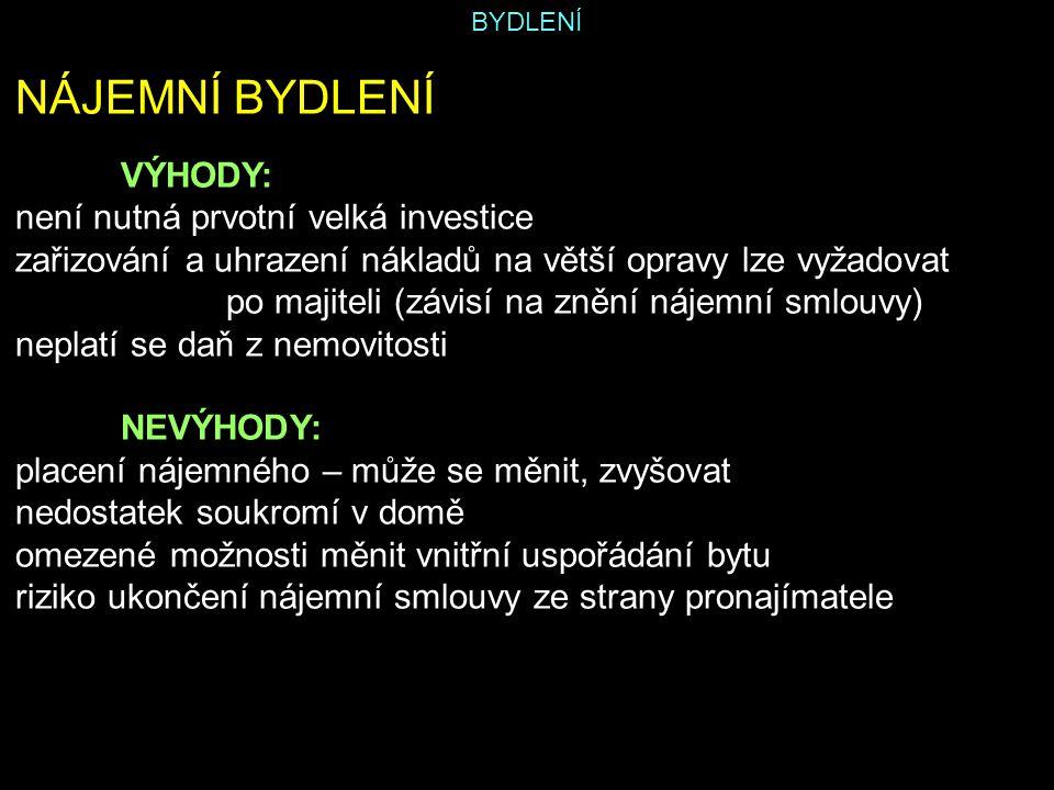 BYDLENÍ Zdroj: SKOŘEPA, Michal; SKOŘEPOVÁ, Eva.