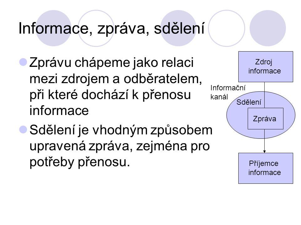 Informace, zpráva, sdělení Zprávu chápeme jako relaci mezi zdrojem a odběratelem, při které dochází k přenosu informace Sdělení je vhodným způsobem up