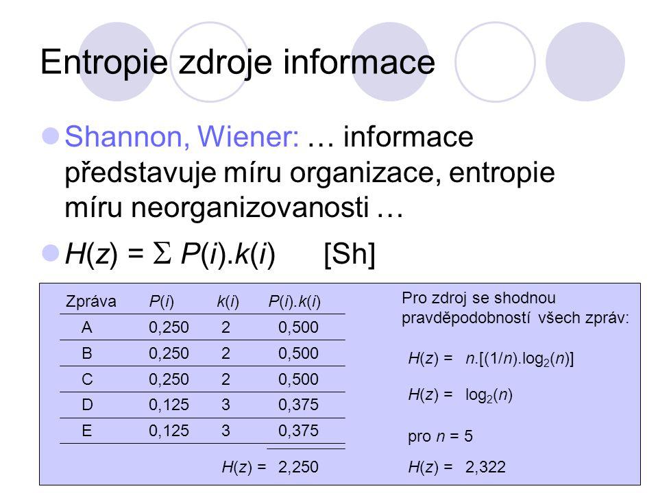 Shannon, Wiener: … informace představuje míru organizace, entropie míru neorganizovanosti … H(z) =  P(i).k(i) [Sh] Entropie je střední hodnota míry informace potřebné k odstranění neurčitosti, která je dána konečným počtem vzájemně se vylučujících jevů.