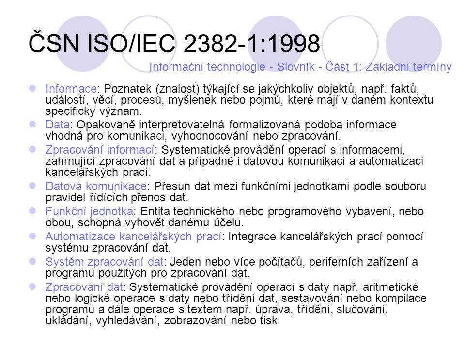 ČSN ISO/IEC 2382-1:1998 Informace: Poznatek (znalost) týkající se jakýchkoliv objektů, např. faktů, událostí, věcí, procesů, myšlenek nebo pojmů, kter