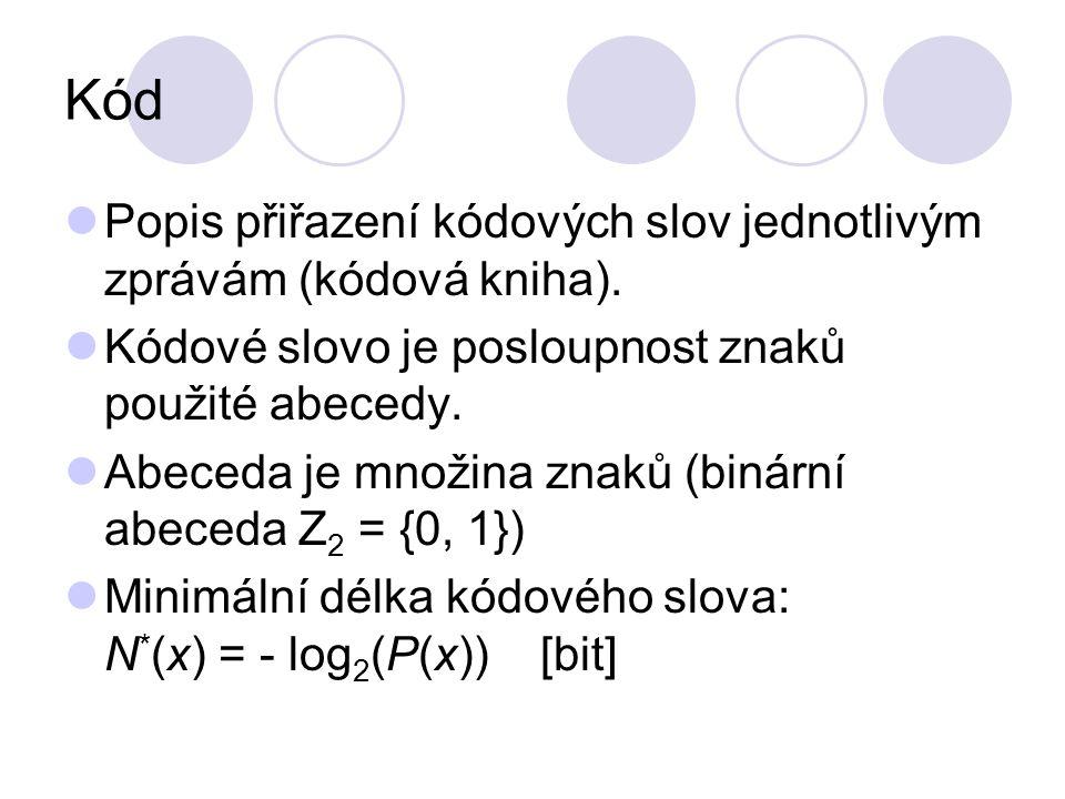 Kód Popis přiřazení kódových slov jednotlivým zprávám (kódová kniha). Kódové slovo je posloupnost znaků použité abecedy. Abeceda je množina znaků (bin
